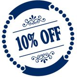10 PERCENT OFF blue seal. Royalty Free Stock Image