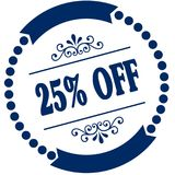 25 PERCENT OFF blue seal. Illustration graphic concept image Royalty Free Stock Photo