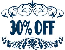 30 PERCENT OFF blue text frames. Illustration concept image Royalty Free Stock Image