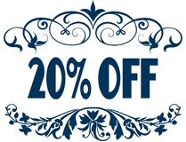 20 PERCENT OFF blue text frames. Illustration concept image Royalty Free Stock Photography