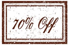 70 PERCENT OFF brown square distressed stamp. Illustration image Stock Photos
