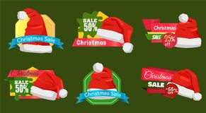 50 Percent Off Christmas Sale Promotion Cards. Vector illustration with ad text isolated on colorful patterns, cute hats, white buboes, bright ribbons royalty free illustration