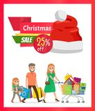 25 Pecrcent Off Christmas Sale Vector Illustration. 25 percent off Christmas sale vector illustration with smiling mother, father and daughter carrying many Stock Images