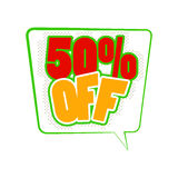50 percent off comics icon. 50 percent off icon in comics style isolated on white background Stock Images