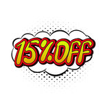 15 percent off comics icon. 15 percent off icon in comics style isolated on white background Stock Images