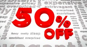 50 percent off 3D Illustration. 3D Render of 50% off along with text of the opposites like pricey, exorbitant, etc. in the background stock illustration