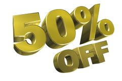 50 percent off. A 3D illustration of the text 50% off royalty free illustration