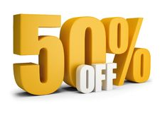 50 percent OFF. 3d image. White background royalty free illustration