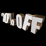 20 percent off 3d letters on black background. 20 percent off letters on black background. 3d render Stock Photo