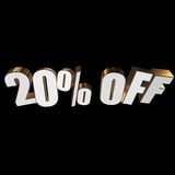 20 percent off 3d letters on black background. 20 percent off letters on black background. 3d render Stock Image