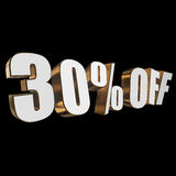 30 percent off 3d letters on black background. 30 percent off letters on black background. 3d render Royalty Free Stock Photo