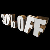 30 percent off 3d letters on black background. 30 percent off letters on black background. 3d render Stock Photography