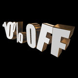10 percent off 3d letters on black background. 10 percent off letters on black background. 3d render Stock Photos