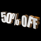 50 percent off 3d letters on black background. 50 percent off letters on black background. 3d render Royalty Free Stock Images
