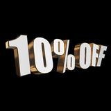 10 percent off 3d letters on black background. 10 percent off letters on black background. 3d render Stock Photography