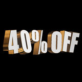 40 percent off 3d letters on black background Stock Photos