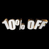 10 percent off 3d letters on black background. 10 percent off letters on black background. 3d render Royalty Free Stock Photography