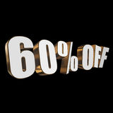 60 percent off 3d letters on black background. 60 percent off letters on black background. 3d render stock illustration