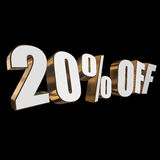 20 percent off 3d letters on black background. 20 percent off letters on black background. 3d render Royalty Free Stock Photography