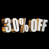 30 percent off 3d letters on black background. 30 percent off letters on black background. 3d render Stock Photo