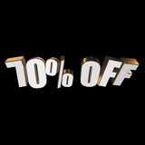 70 percent off 3d letters on black background Royalty Free Stock Photo