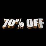70 percent off 3d letters on black background. 70 percent off letters on black background. 3d render Stock Photos