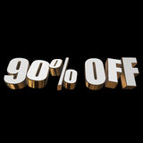 90 percent off 3d letters on black background. 90 percent off letters on black background. 3d render royalty free illustration