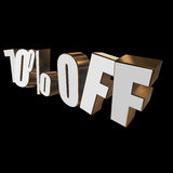 70 percent off 3d letters on black background. 70 percent off letters on black background. 3d render Royalty Free Stock Image