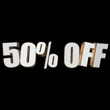 50 percent off 3d letters on black background. 50 percent off letters on black background. 3d render Royalty Free Stock Photo