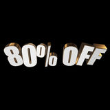 80 percent off 3d letters on black background. 80 percent off letters on black background. 3d render Royalty Free Stock Image