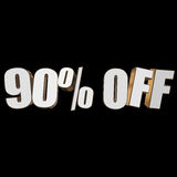 90 percent off 3d letters on black background. 90 percent off letters on black background. 3d render stock illustration