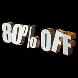 80 percent off 3d letters on black background. 80 percent off letters on black background. 3d render Stock Photos