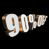 90 percent off 3d letters on black background. 90 percent off letters on black background. 3d render vector illustration