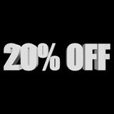 20 percent off 3d letters on black background Royalty Free Stock Photos