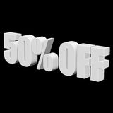 50 percent off 3d letters on black background. 50 percent off letters on black background. 3d render isolated Stock Images