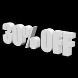 30 percent off 3d letters on black background. 30 percent off letters on black background. 3d render isolated Royalty Free Stock Images