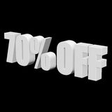 70 percent off 3d letters on black background. 70 percent off letters on black background. 3d render isolated Stock Image