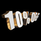 10 percent off 3d letters on black background. 10 percent off letters on black background. 3d render isolated Stock Images