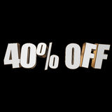 40 percent off 3d letters on black background Stock Images