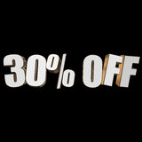 30 percent off 3d letters on black background. 30 percent off letters on black background. 3d render isolated Royalty Free Stock Image