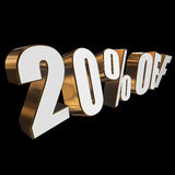20 percent off 3d letters on black background Royalty Free Stock Images