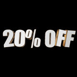 20 percent off 3d letters on black background. 20 percent off letters on black background. 3d render isolated Royalty Free Stock Images