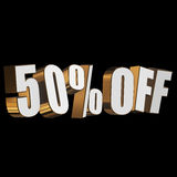 50 percent off 3d letters on black background. 50 percent off letters on black background. 3d render isolated Stock Photography