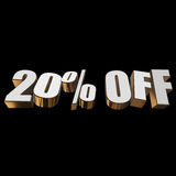 20 percent off 3d letters on black background Royalty Free Stock Photo