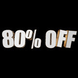 80 percent off 3d letters on black background. 80 percent off letters on black background. 3d render isolated Royalty Free Stock Image