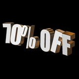 70 percent off 3d letters on black background Stock Photo