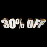 30 percent off 3d letters on black background Stock Image