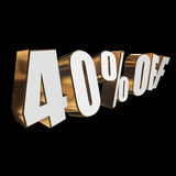 40 percent off 3d letters on black background Royalty Free Stock Photography