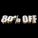80 percent off 3d letters on black background. 80 percent off letters on black background. 3d render isolated Stock Images