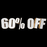 60 percent off 3d letters on black background. 60 percent off letters on black background. 3d render isolated stock illustration